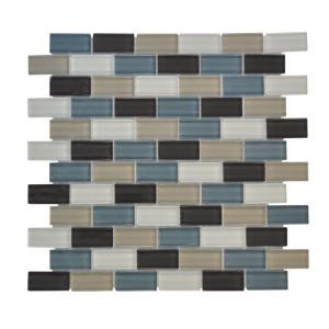 Jeffrey Court Shoreline Brick Blue 12 in. x 12 in. Glass Mosaic Tile