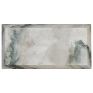 Jeffrey Court Beveled White 4 in. x 8 in. Marble Wall Tile