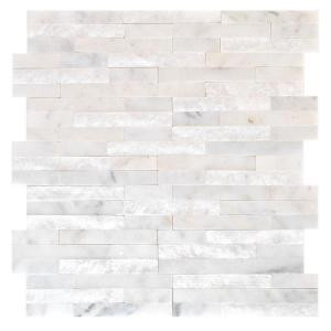Jeffrey Court Churchill White Split Face 11.75 in. x 12.5 in. Marble Mosaic Wall Tile