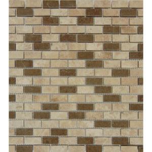 MS International Noce/Chiaro Mini Brick 12 in. x 12 in. Multi Travertine Mesh-Mounted Mosaic Tile