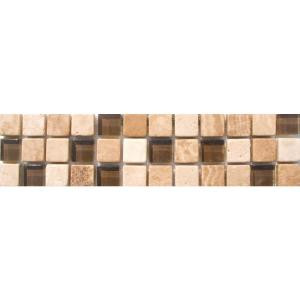 MS International Glass/Stone Border 3 in. x 12 in. Floor & Wall Tile (1 Ln. Ft. per piece)
