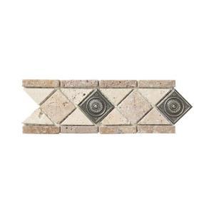 Jeffrey Court Noce Chiaro Pewter Scudo 4 in. x 12 in. Travertine Wall & Floor Tile