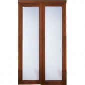 TRUporte Grand 2000 Series 72 in. x 80 in. Composite Cherry 1-Lite Tempered Frosted Glass Sliding Door