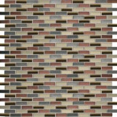 Daltile Fashion Accents Copper Blend 12 in. x 12 in. Glass and Stone Brix Blend Mosaic Wall Tile