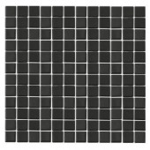 EPOCH Monoz M-Black-1401 Mosiac Recycled Glass Mesh Mounted Floor & Wall Tile - 4 in. x 4 in. Tile Sample