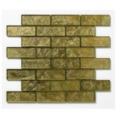 Solistone Folia Glass 12 in. x 12 in. Golden Willow Glass Mesh-Mounted Mosaic Tile