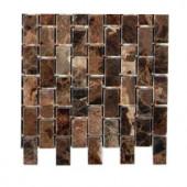 Splashback Tile Rich Dark Emperador 1/2 in. x 1 in. Marble Mosaic Tile - 6 in. x 6 in. Tile Sample