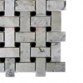Splashback Tile Magnolia Weave White Carrera With Black Dot Marble Tile - 6 in. x 6 in. Tile Sample