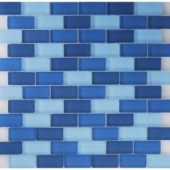 EPOCH Oceanz Indian Mosaic Glass Mesh Mounted Tile - 4 in. x 4 in. Tile Sample