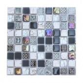 Splashback Tile Aztec Art City Slicker Grey Glass - 6 in. x 6 in. Tile Sample
