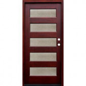 Pacific Entries Contemporary 5 Lite Seedy Stained Wood Mahogany Entry Door with 6 Wall Series