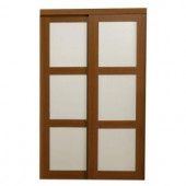 TRUporte 2310 Series 72 in. x 80 in. 3-Lite Tempered Frosted Glass Composite Cherry Interior Sliding Door