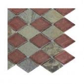 Splashback Tile Tectonic Diamond Multicolor Slate And Rust Glass Tiles - 6 in. x 6 in. Tile Sample
