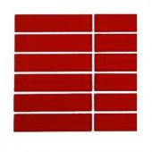 Splashback Tile Contempo Lipstick Red Polished 1 in. x 4 in. Glass Tile - 6 in. x 6 in. Tile Sample