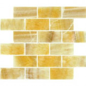 MS International 12 in. x 12 in. Honey Natural Stone Onyx Subway Mesh-Mounted Mosaic Tile