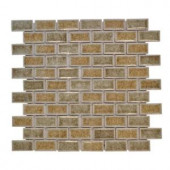 Jeffrey Court 12 in. x 12 in. Silver Quill Crackle Glass Mosaic Tile