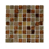 Splashback Tile Metallic Carved Egyptian's Gold Blend 1/2 in. x 1/2 in. Marble And Glass Tiles - 6 in. x 6 in. Tile Sample