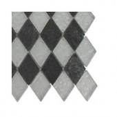 Splashback Tile Tectonic Diamond Black Slate and Silver Glass Floor and Wall Tile - 6 in. x 6 in. Tile Sample