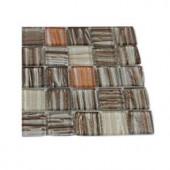 Splashback Tile Gemini Jupiter Blend 1 in. x 1 in. Glass Tiles - 6 in. x 6 in. Tile Sample