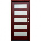 Pacific Entries Contemporary 5 Lite Mistlite Stained Wood Mahogany Entry Door