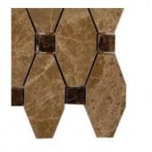 Splashback Tile Artois Pattern Hexagon Light Emperador With Dark Emperador Dot Marble Tile - 6 in. x 6 in. Tile Sample
