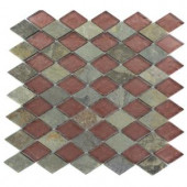 Splashback Tile Tectonic Diamond Multicolor Slate and Rust 12 in. x 12 in. Glass Mosaic Floor and Wall Tile