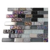 Splashback Tile Seattle Skyline Blend Bricks 1/2 in. x 2 in. Marble And Glass Tile Bricks - 6 in. x 6 in. Tile Sample