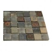 Splashback Tile Tapestry Vintage Jewelry 1 in. x 1 in. Marble And Glass Tiles - 6 in. x 6 in. Tile Sample