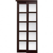 TRUporte Grand 2240 Series 72 in. x 80 in. Composite Espresso 5-Lite Tempered Frosted Glass Sliding Door