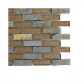 Splashback Tile Tectonic Brick Multicolor Slate and Bronze Glass Floor and Wall Tile - 6 in. x 6 in. Tile Sample