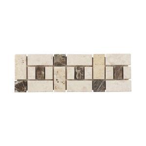 Jeffrey Court Biscotti Creama Emperador Strip 4 in. x 12 in. Marble Wall Accent / Trim Tile