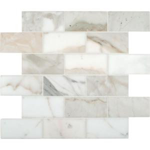 MS International Calacatta Gold 2 in. x 4 in. Polished Marble Mesh-Mounted Mosaic Floor and Wall Tile