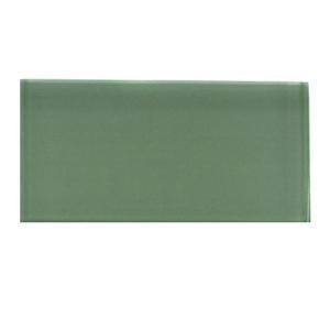 Splashback Tile Contempo Spa Green Polished Glass Tile - 3 in. x 6 in. Tile Sample