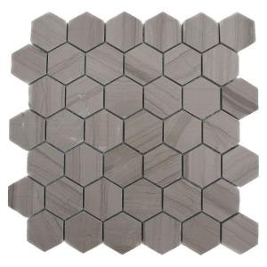 Splashback Tile Athens Grey Hexagon 12 in. x 12 in. Polished Marble Floor and Wall Tile