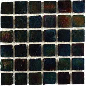 Splashback Tile Iridescent Raven 12 in. x 12 in. Glass Mosaic Floor and Wall Tile