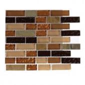 Splashback Tile Golden Trail Blend Bricks 1/2 in. x 2 in. Marble And Glass Mosaics Bricks - 6 in. x 6 in. Tile Sample