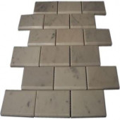 Splashback Tile Beveled White Carrera Marble Tile - 6 in. x 6 in. Tile Sample