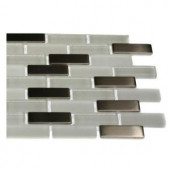 Splashback Tile Contempo Ice Cave 1/2 in. x 2 in. Brick Pattern Marble And Glass Tile - 6 in. x 6 in. Tile Sample