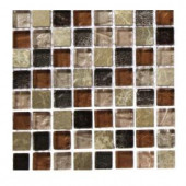 Splashback Tile Outback Brown Blend 1/2 in. x 1/2 in. Marble And Glass Tile Squares - 6 in. x 6 in. Tile Sample