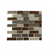 Splashback Tile Suede Shoe Brick Pattern 1/2 in. x 2 in. Marble And Glass Tile - 6 in. x 6 in. Tile Sample