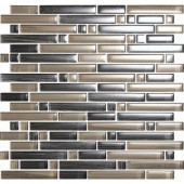 EPOCH Brushstrokes Grigio-1504-S Strips Mosaic Glass Mesh Mounted - 4 in. x 4 in. Tile Sample